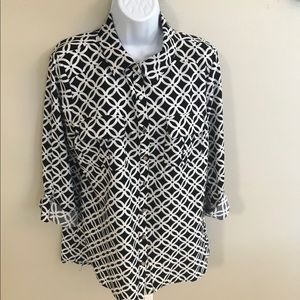 Notations Black/White Roll Tab Sleeves Top Size M